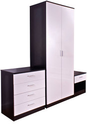 High gloss 3 piece trio bedroom wardrobe set